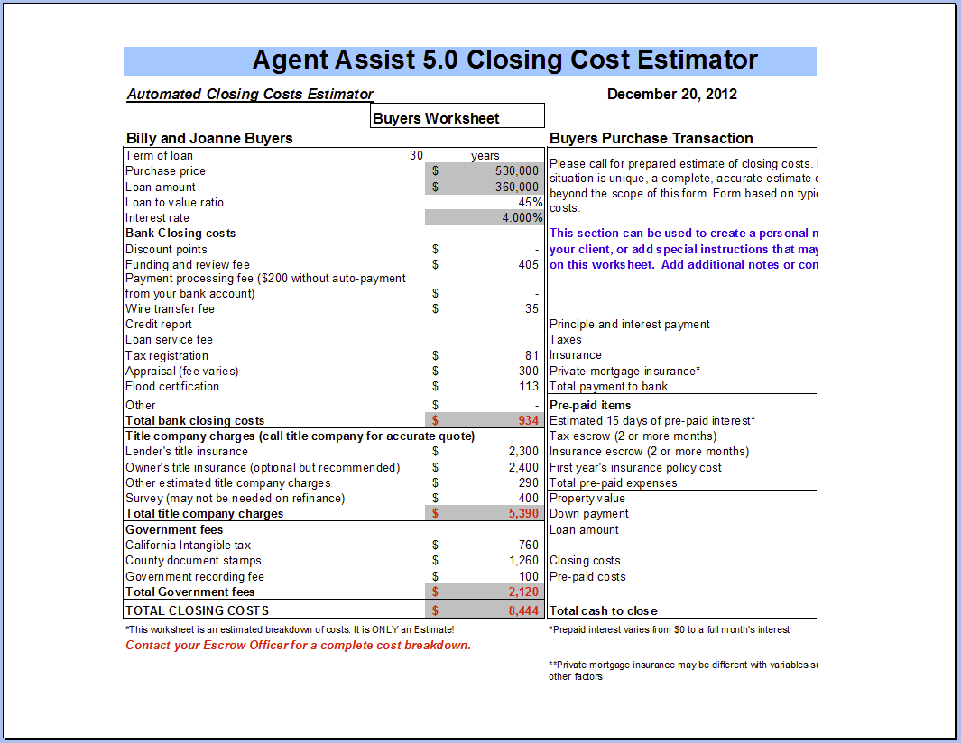 Agent Assist Buyer Closing Costs Calculator